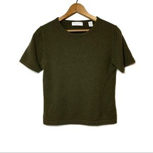 LORD & TAYLOR Cashmere Sweater Olive Green Small